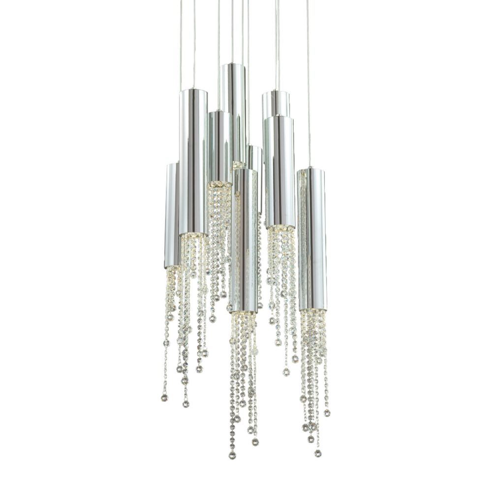 Groove Collection 9 Light Chrome Pendant