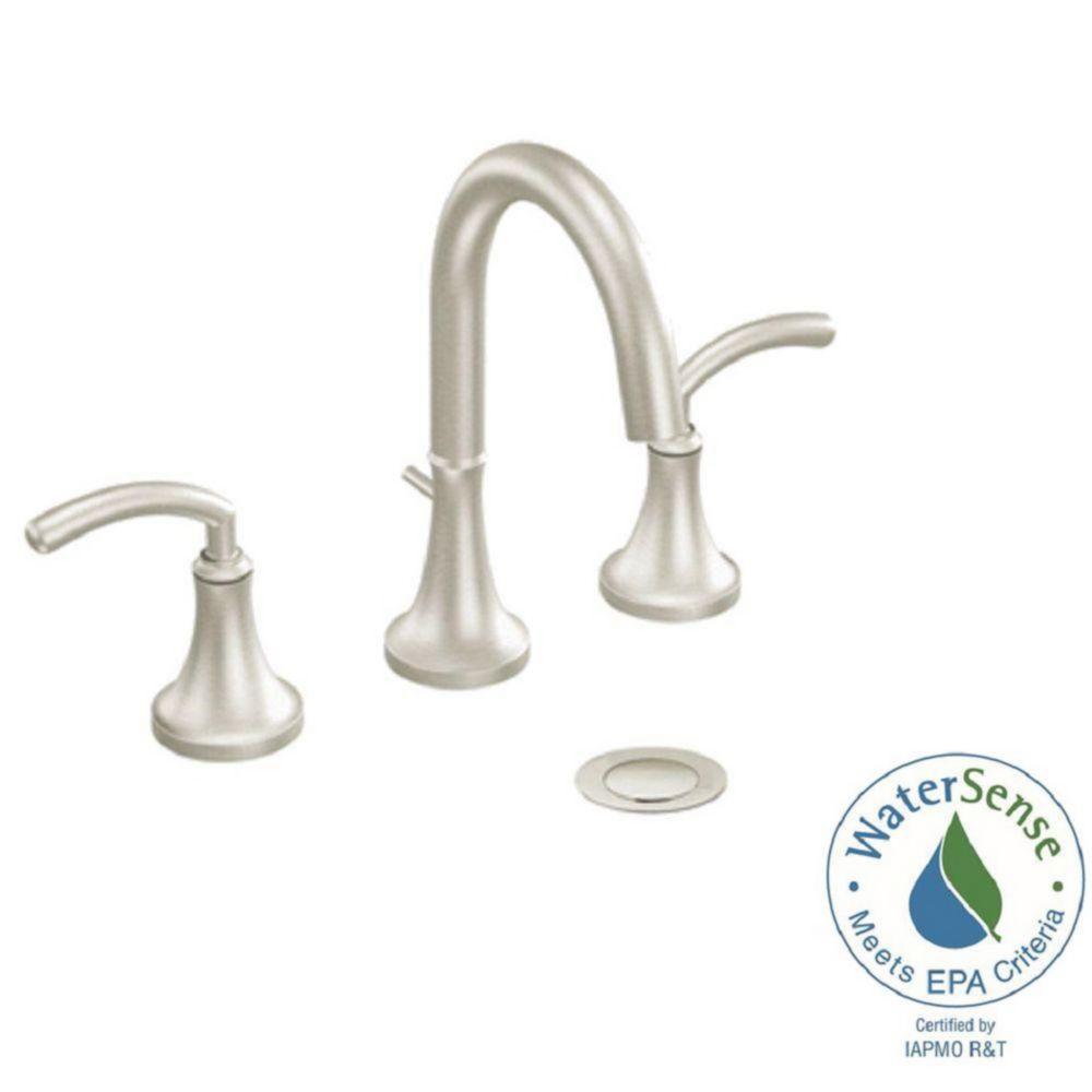 Moen icon widespread 8 inch 2 handle high arc bathroom - 8 inch brushed nickel bathroom faucet ...