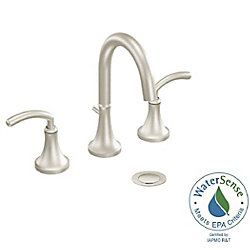 Icon Widespread (8-inch) 2-Handle High Arc Bathroom Faucet in Brushed Nickel with Lever Handles