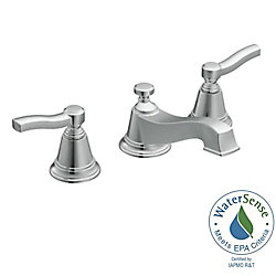 Rothbury Widespread (8-inch) 2-Handle Low Arc Bathroom Faucet in Chrome with Lever Handles