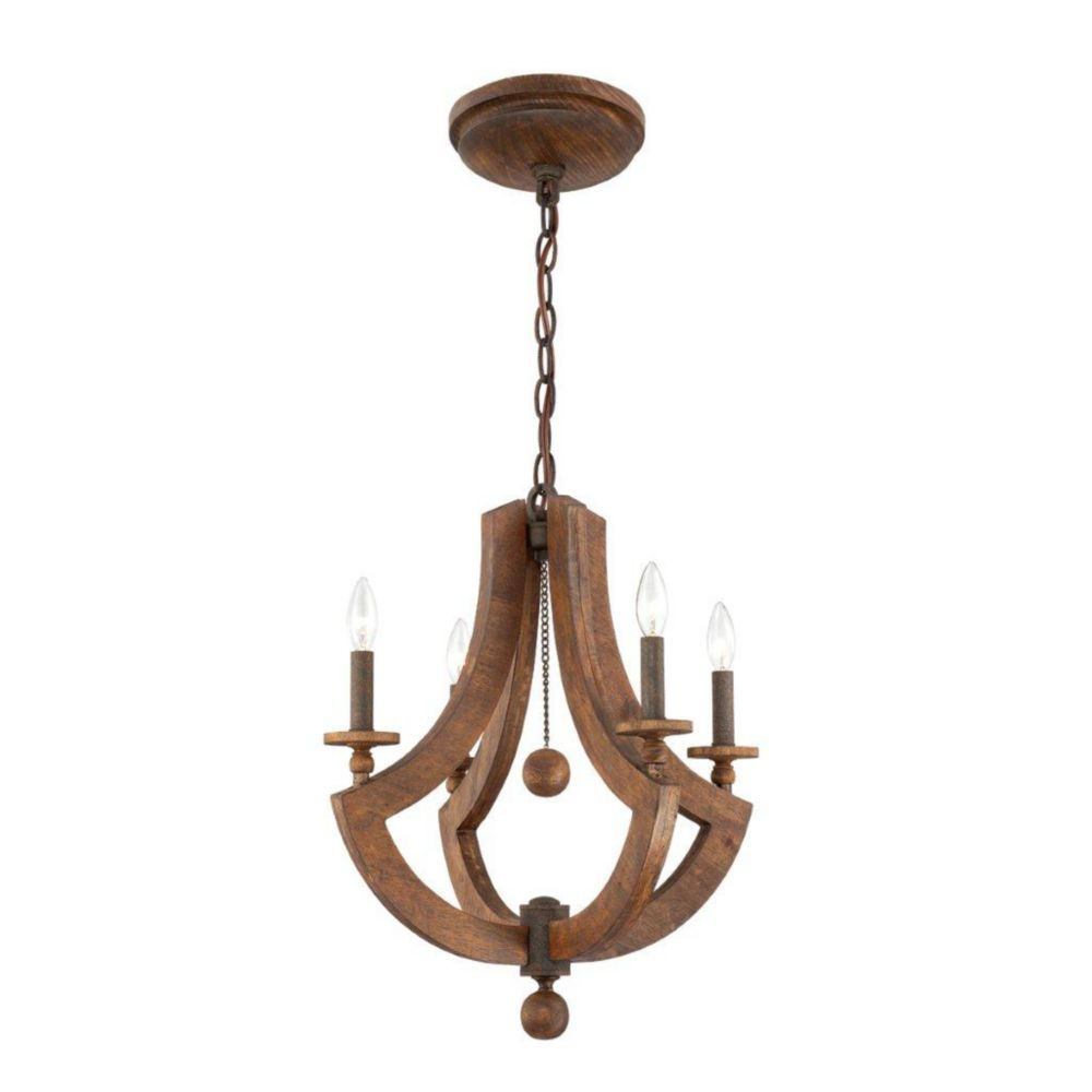 Lenio Collection 4 Light Wood Chandelier
