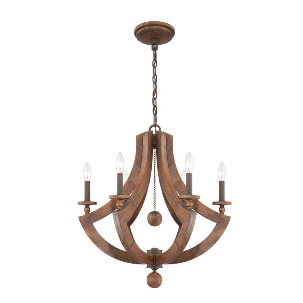 Lenio Collection 6 Light Wood Chandelier