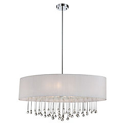 Eurofase Penchant Collection 6 Light Chrome & White Oval Pendant