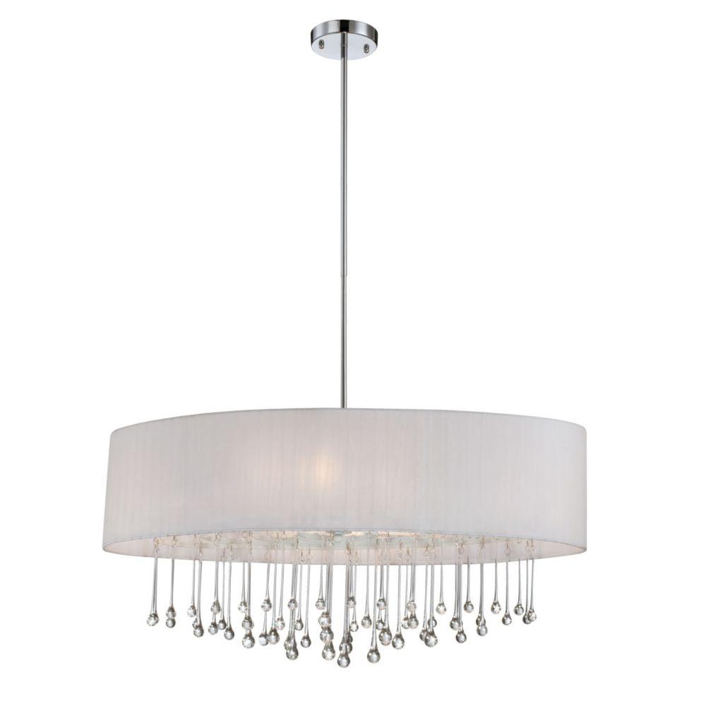 Penchant Collection 6 Light Chrome & White Oval Pendant