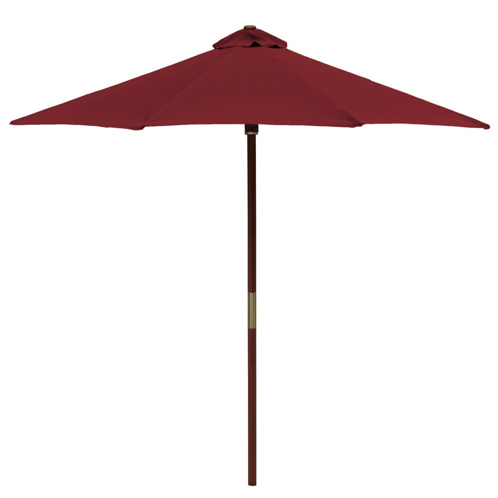 Hampton Bay Chili 9 Ft Wood Single Pulley Market Umbrella The