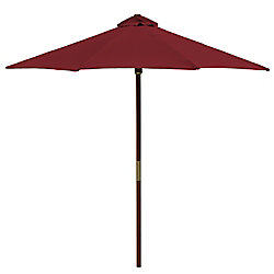 Hampton Bay Chili 9 ft. Wood Single Pulley Market Umbrella