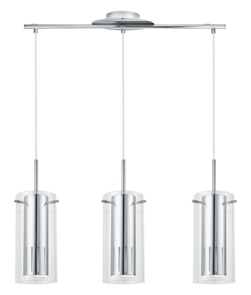 Eglo Pinto 1 3 Light Hanging Chrome Finish With Clear