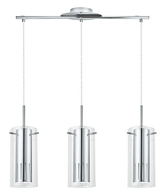 Eglo Pinto 1 3 Light Hanging Chrome Finish With Clear Glass | The ...