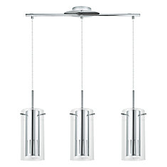 Pinto 1 3-Light Hanging Pendant Light Fixture in Chrome Finish with Clear Glass