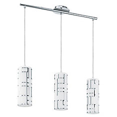 Bayman 3-Light Chrome Hanging Fixture with Opal Glass