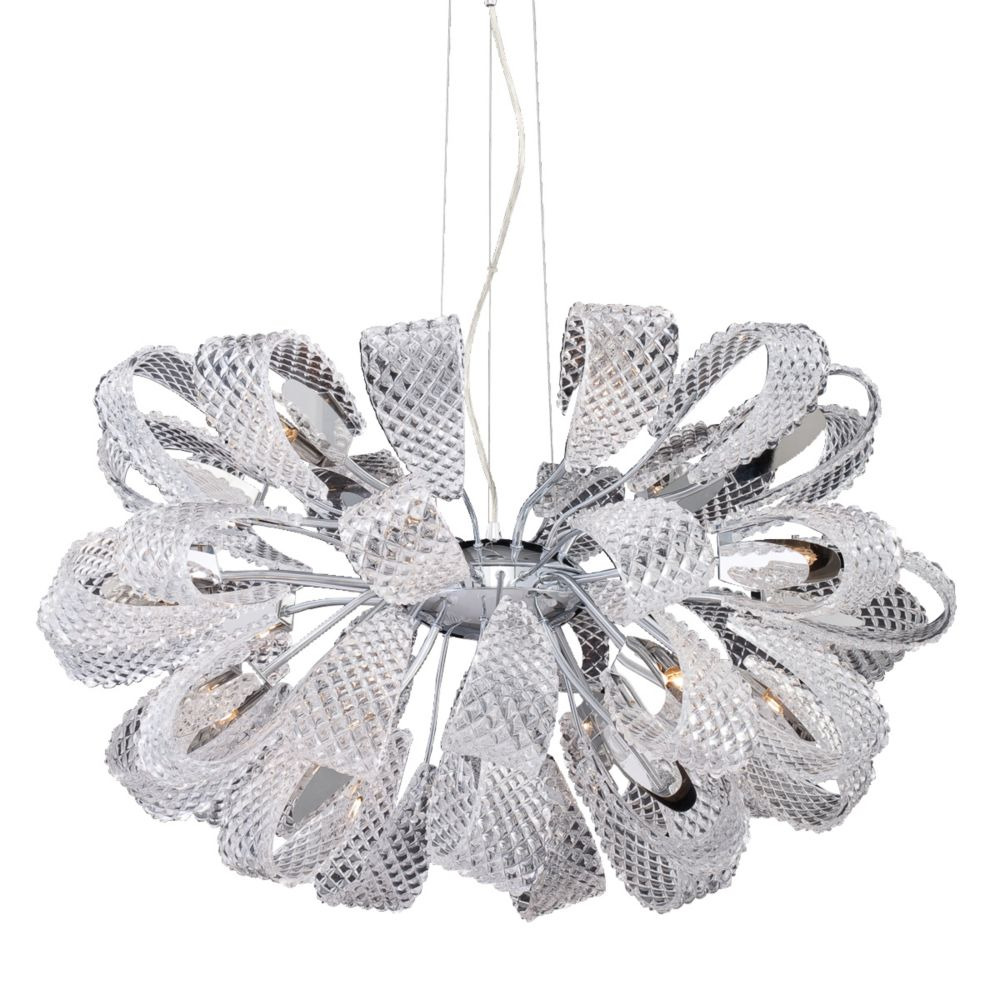 Origami Collection 21 Light Chrome Chandelier