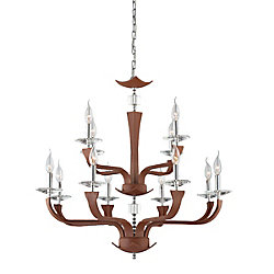 Pella Collection 12 Light Chrome & Brown Chandelier