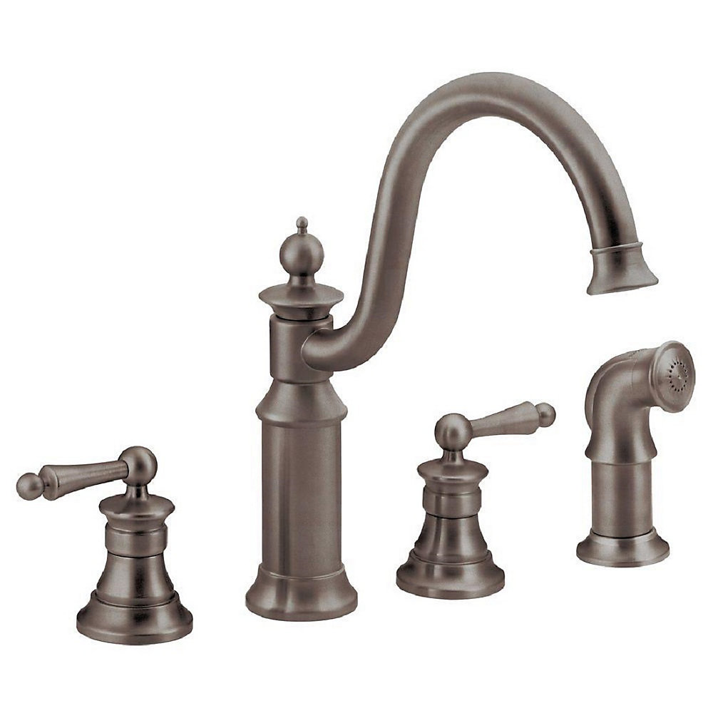 Waterhill 2-Handle Side Sprayer Kitchen Faucet in Oil-Rubbed Bronze
