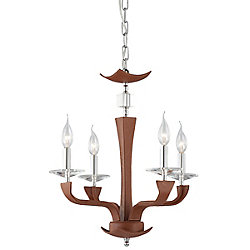 Pella Collection 4 Light Chrome & Brown Chandelier