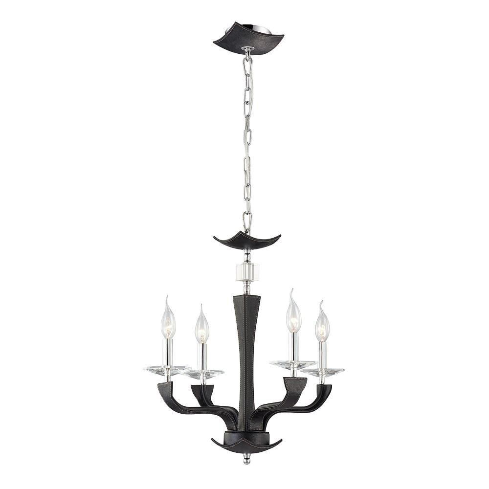 Pella Collection 4 Light Chrome & Black Chandelier
