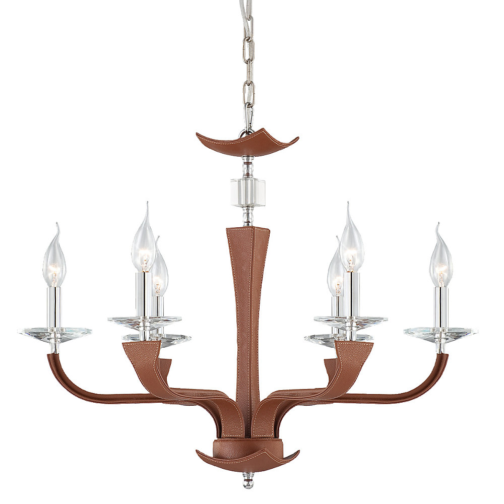 Pella Collection 6 Light Chrome & Brown Chandelier