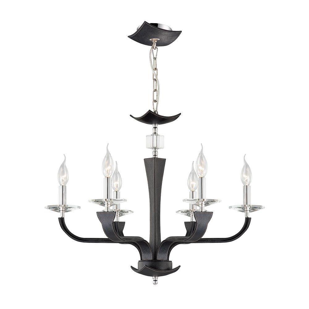 Pella Collection 6 Light Chrome & Black Chandelier