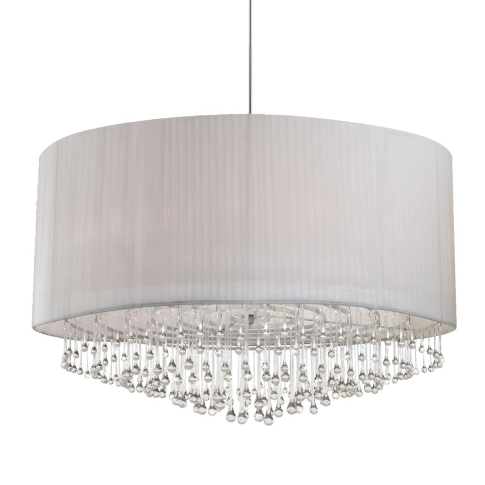 Penchant Collection 12 Light Chrome & White Pendant