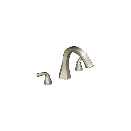 Felicity 2-Handle Deck-Mount Roman Bath Faucet in Brushed Nickel Finish