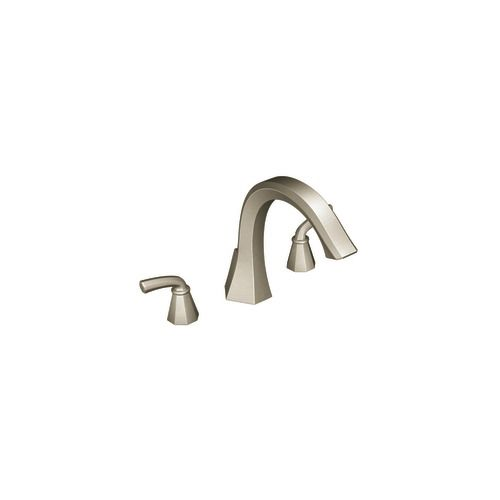 Felicity 2-Handle Deck-Mount Roman Bath Faucet in Brushed Nickel Finish