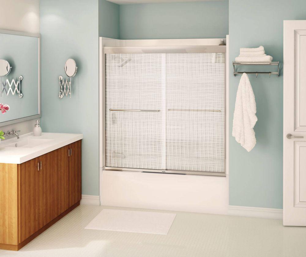Porte pour baignoire-douche Tonik 60 po - Lin, chrome