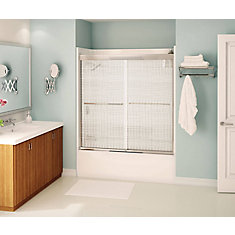 Tonik Tub Door 60 Inch  Linen, Chrome