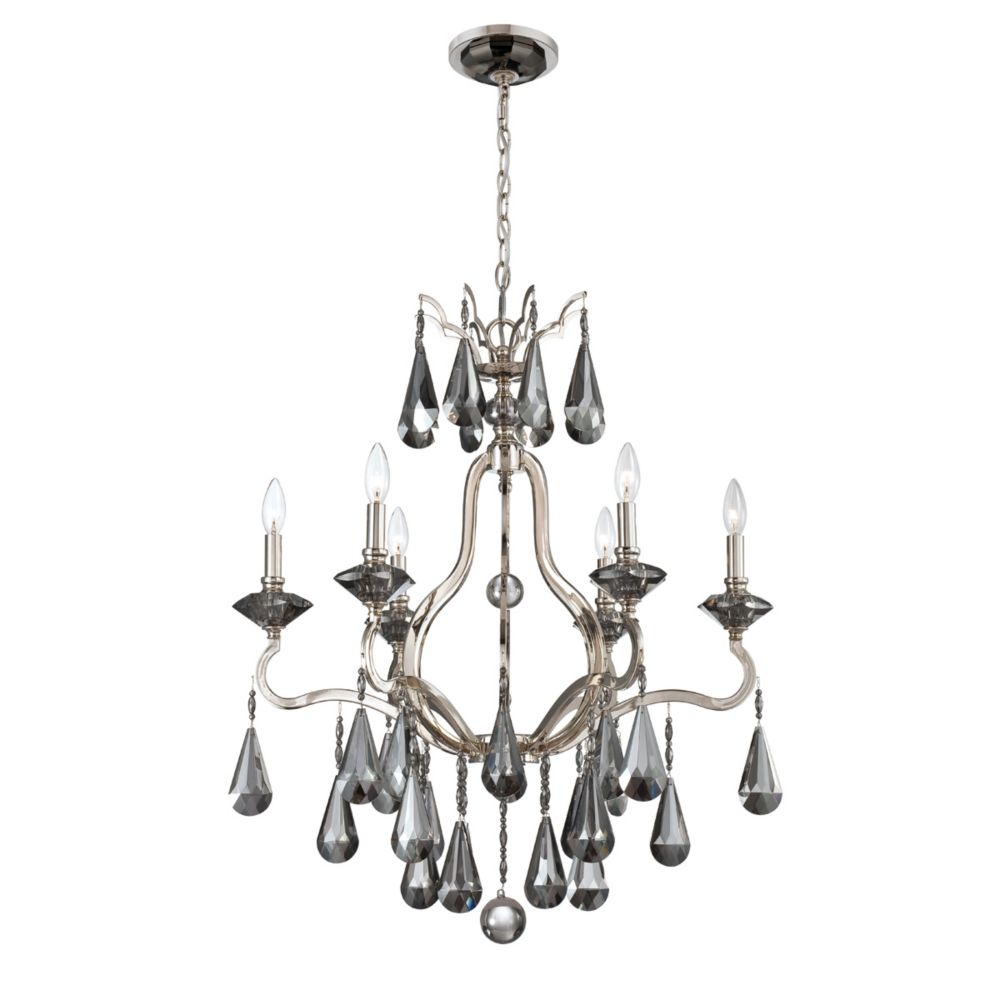 Rosini Collection 6 Light Polished Nickel Chandelier