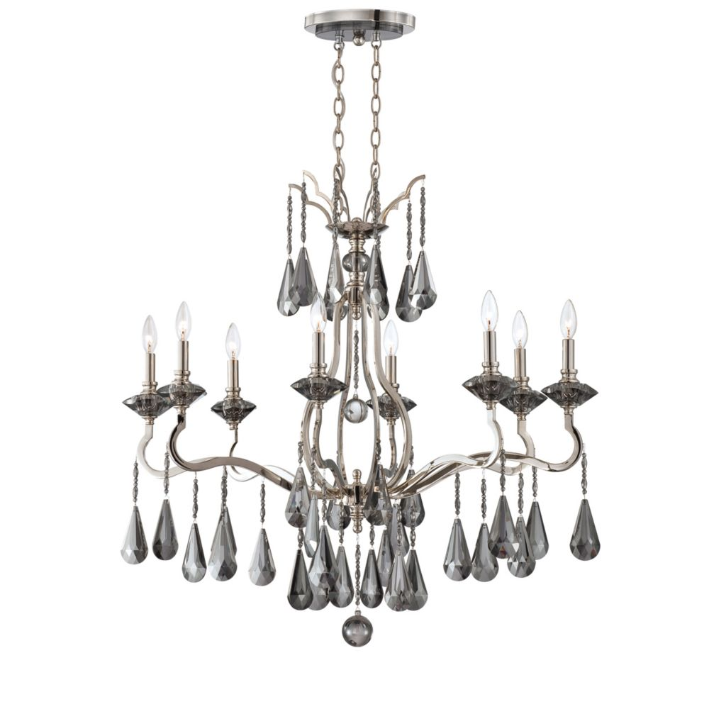 Rosini Collection 8 Light Polished Nickel Oval Chandelier