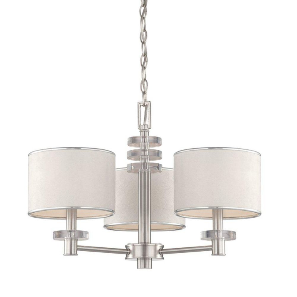 Savvy Collection 3 Light Satin Nickel & White Chandelier