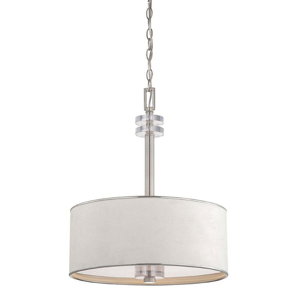 Savvy Collection 3 Light Satin Nickel & White Pendant