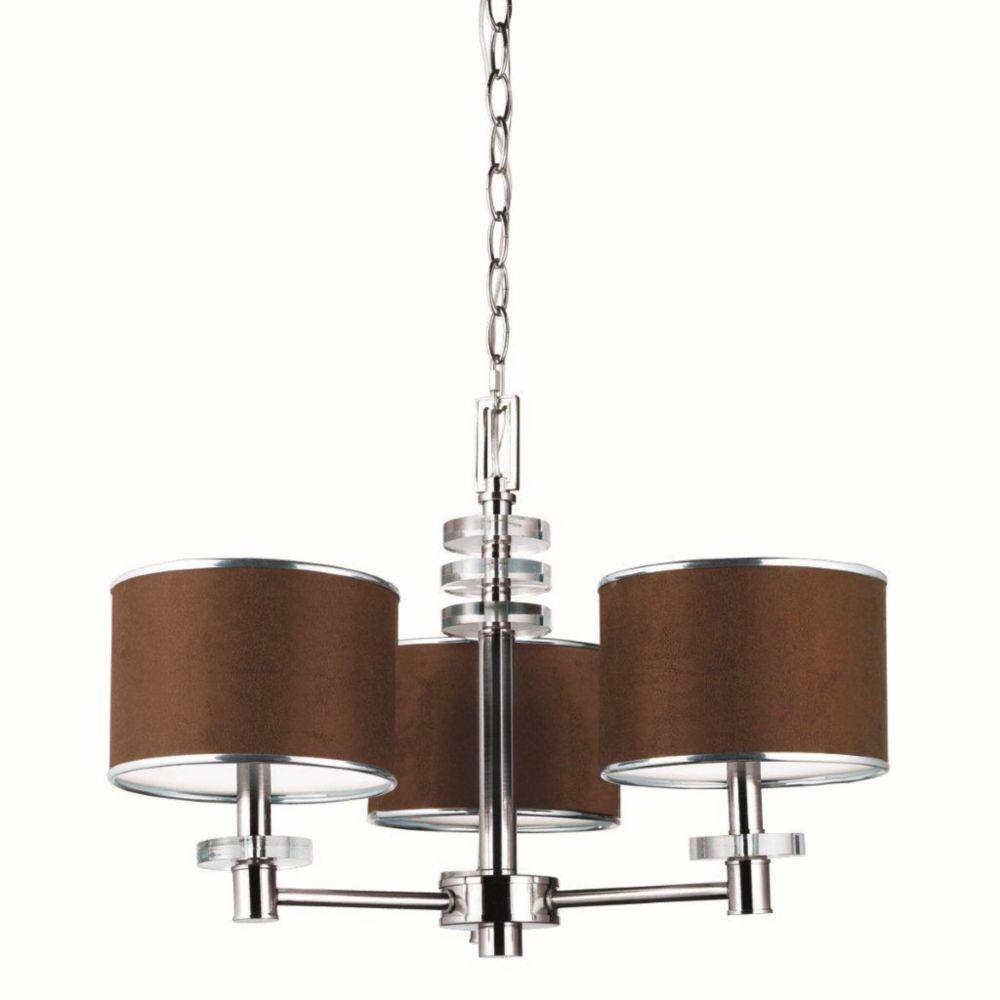 Savvy Collection 3 Light Satin Nickel & Brown Chandelier