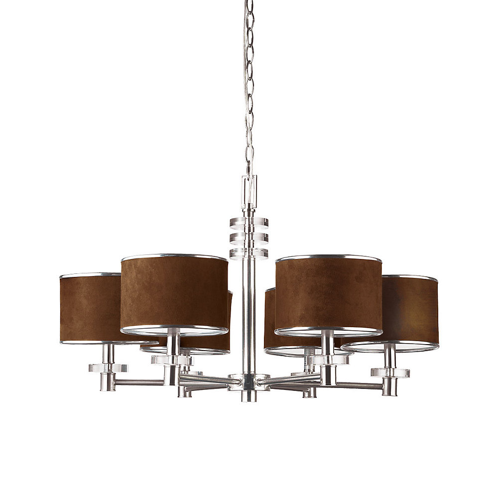 Savvy Collection 6 Light Satin Nickel & Brown Chandelier