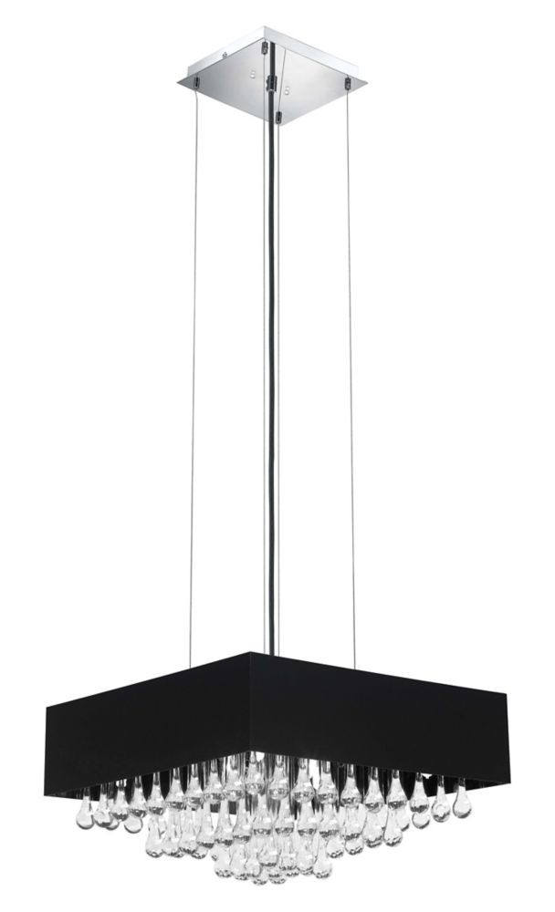 CAMINI Suspension 8L, Black & Chrome Finish With Clear Crystals