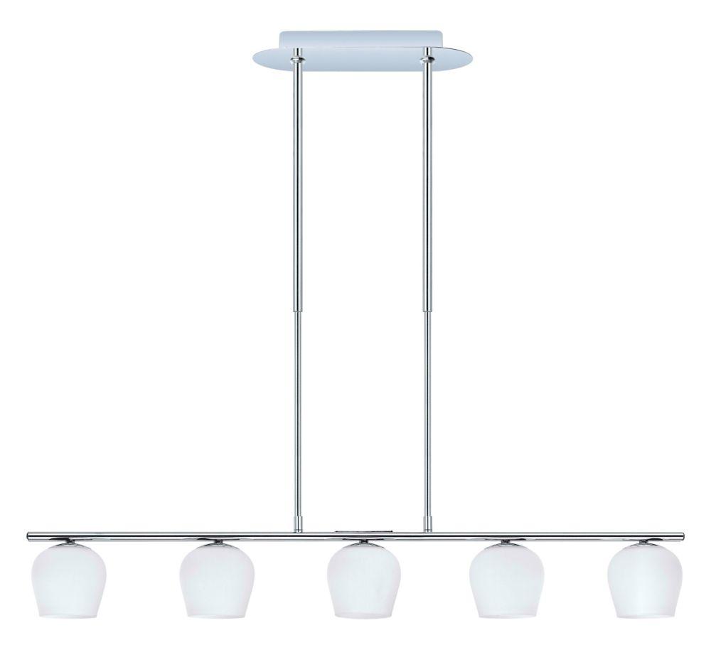 Eglo Carda Pendant Light 5L, Chrome Finish with Matte White Glass