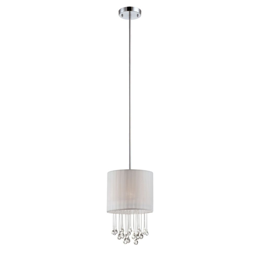 Penchant Collection 1 Light Chrome & White Pendant