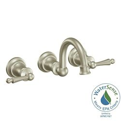 MOEN Waterhill Widespread (8-inch) 2-Handle Bathroom Faucet in Brushed Nickel with Lever Handles