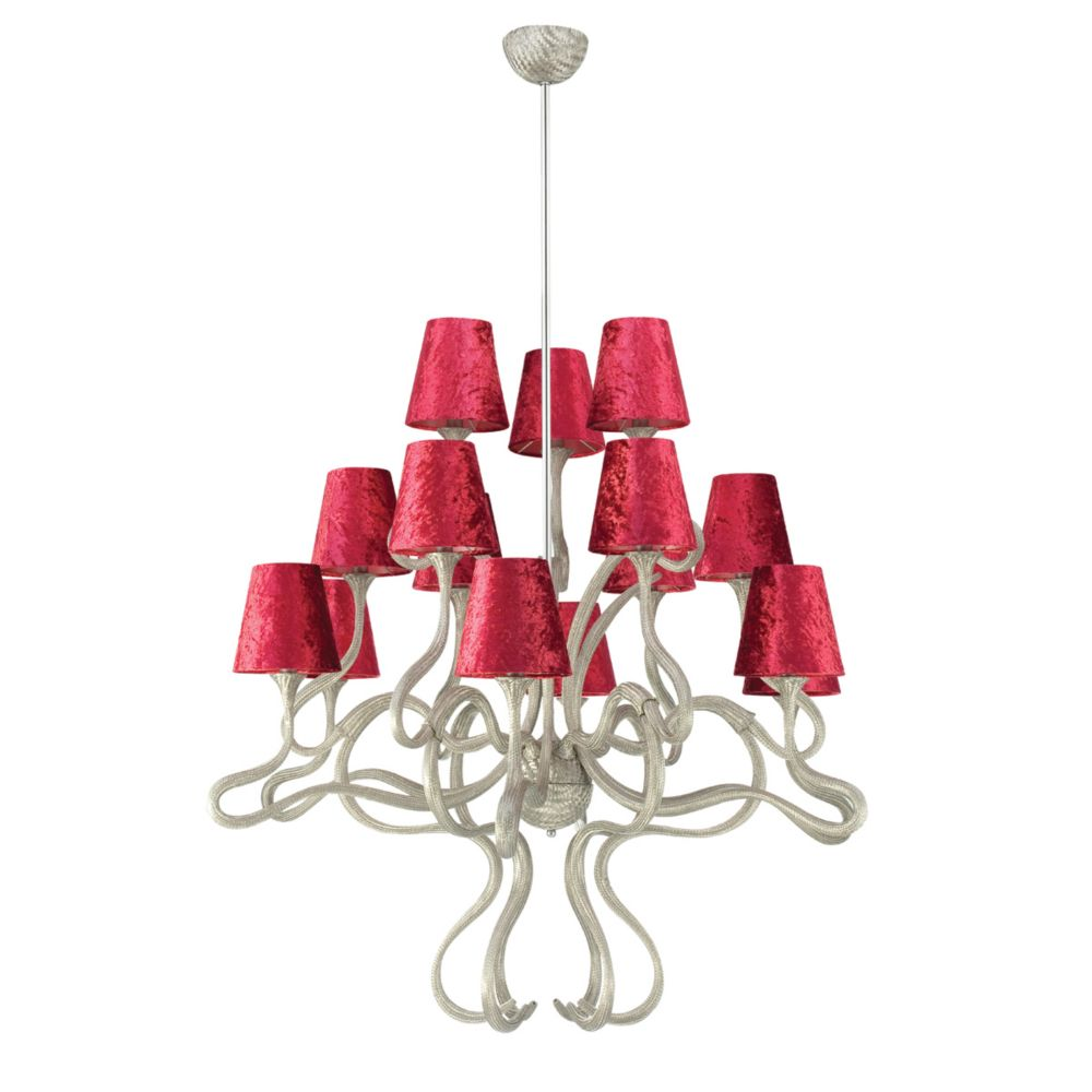 Prima Collection 15 Light Chrome & Red Chandelier