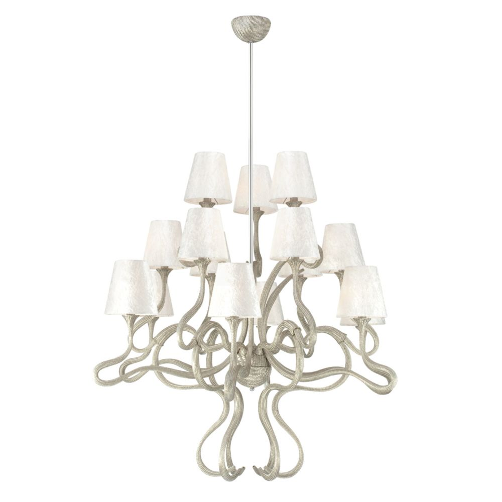 Prima Collection 15 Light Chrome & White  Chandelier