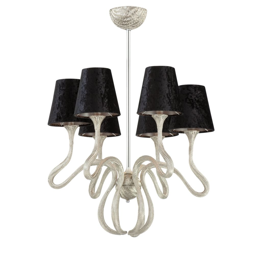 Prima Collection 6 Light Chrome & Black Chandelier