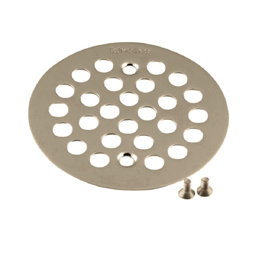 Brass Tub and Shower Drain Cover in Brushed Nickel