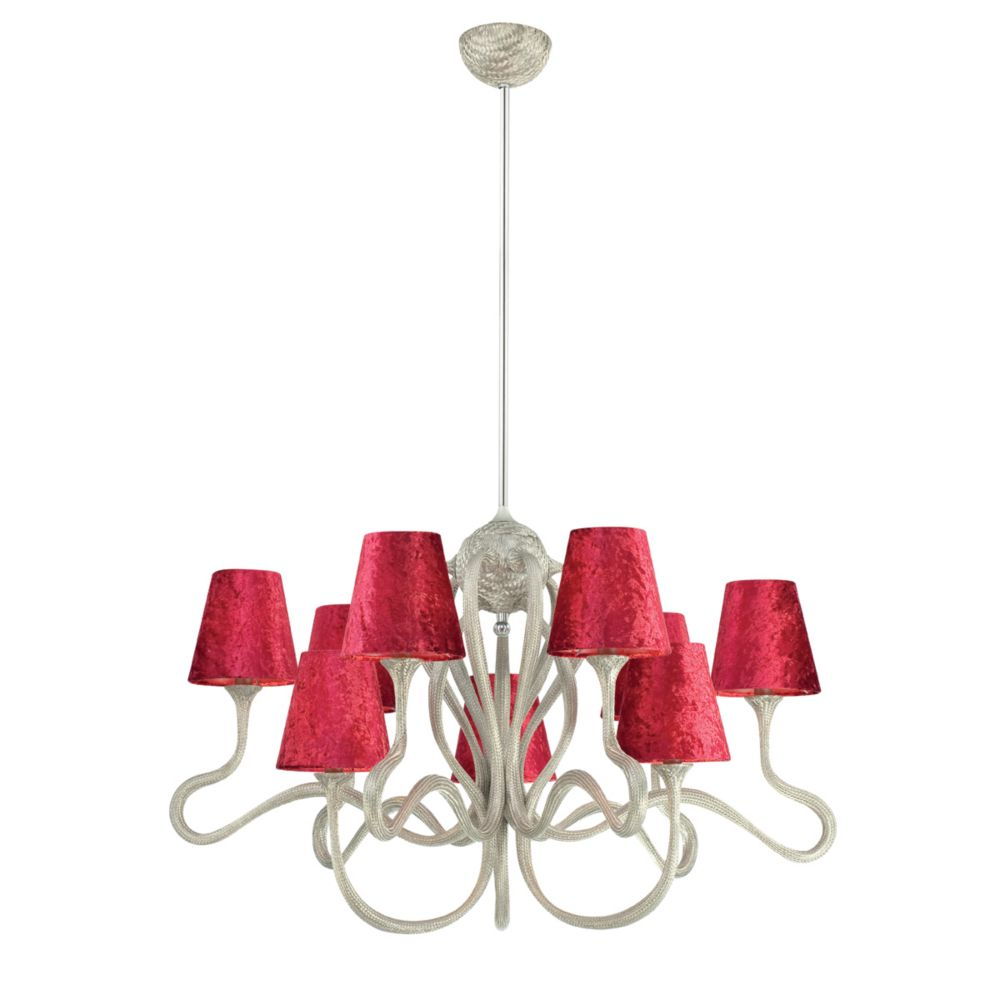 Prima Collection 9 Light Chrome & Red Chandelier
