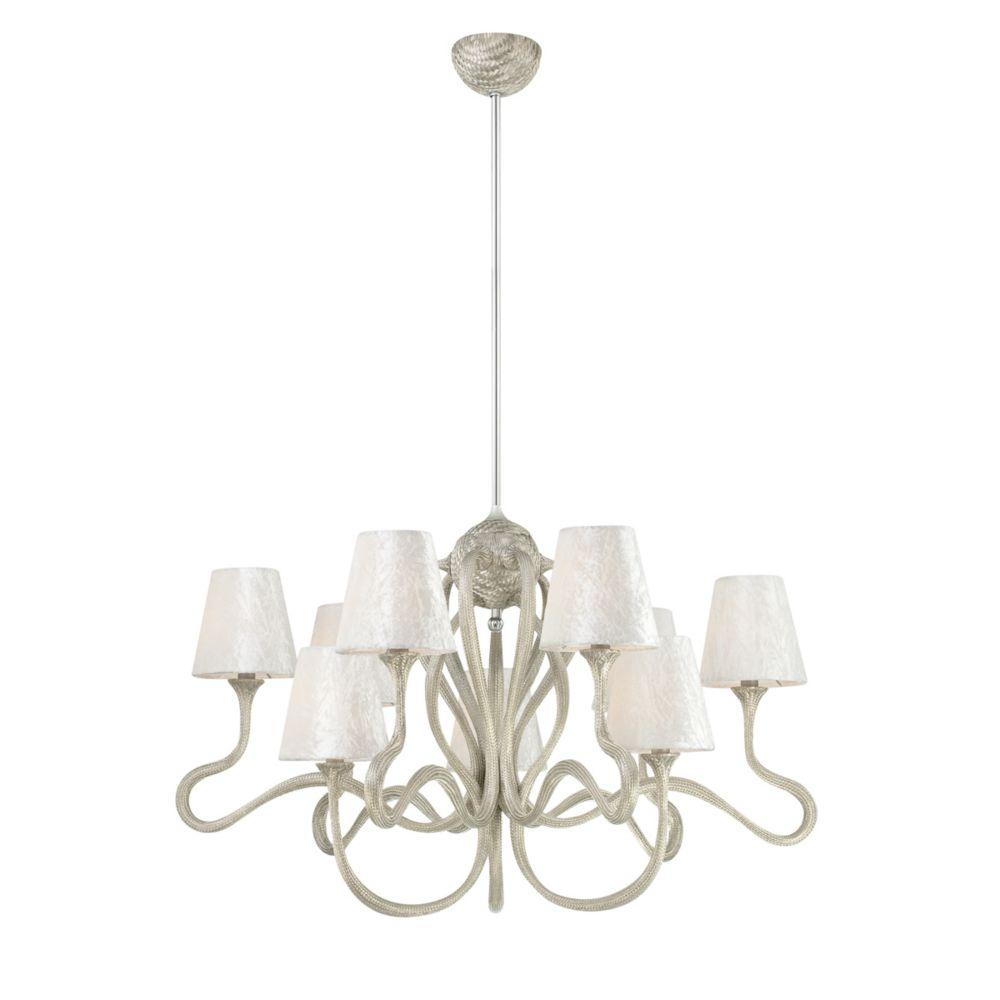 Prima Collection 9 Light Chrome & White Chandelier