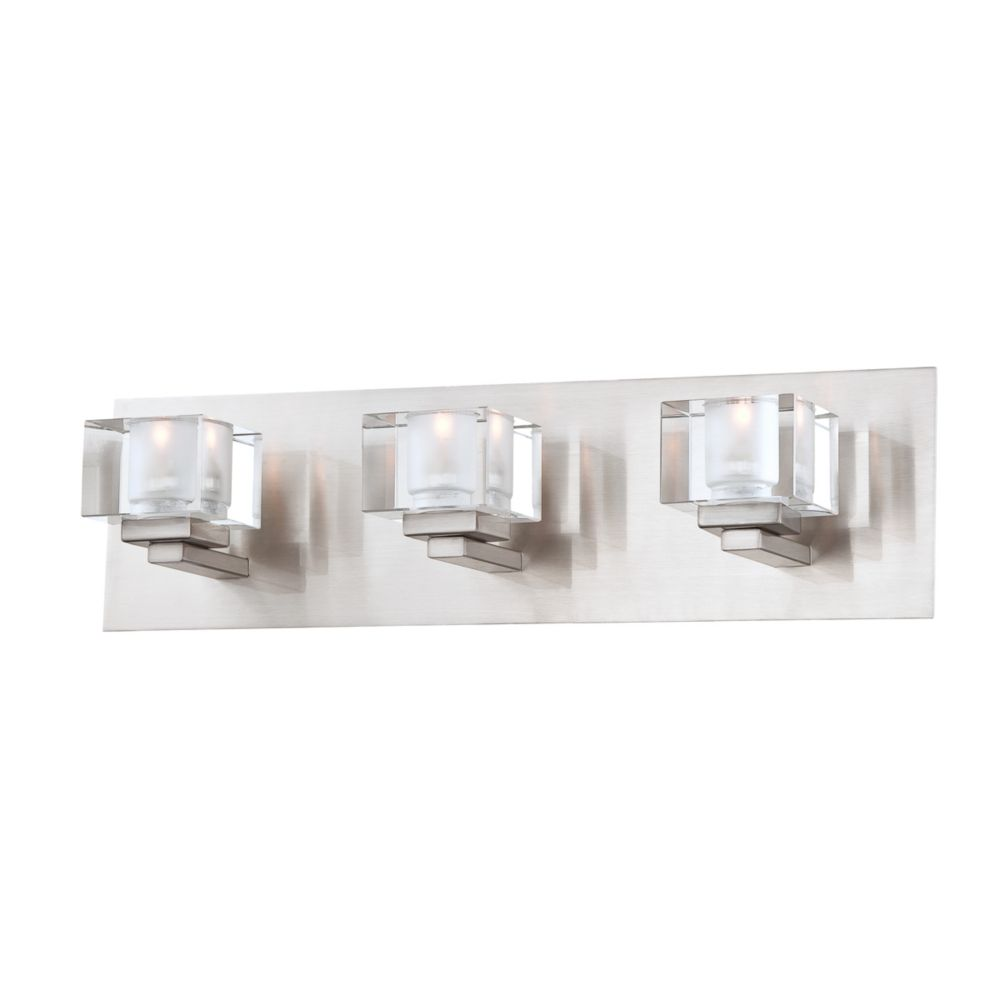 Prism Collection 3 Light Satin Nickel Bathbar