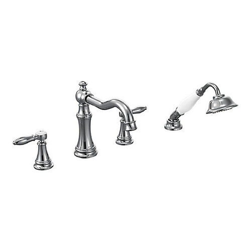 90 Degree 2-Handle High Arc Roman Bath Faucet with Hand Shower in Chrome (Valve Sold Separately)