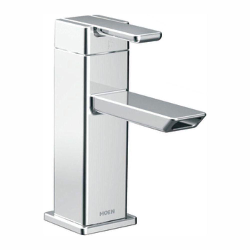Single Hole 1-Handle Low Arc Bathroom Faucet in Chrome with Lever Handle