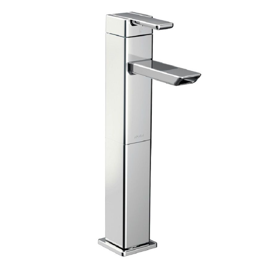 90 Degree Single-Handle Low-Arc Vessel Bathroom Faucet in Chrome Finish