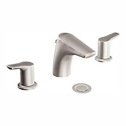 Method Widespread (8-inch) 2-Handle Low Arc Bathroom Faucet in Brushed Nickel with Lever Handles