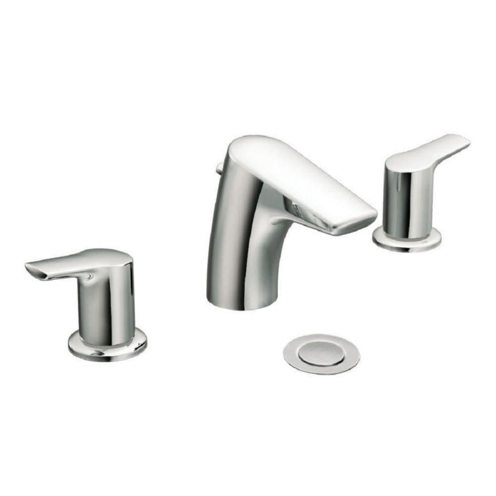 Robinet de salle de bain chrome à deux poignées à petite arche