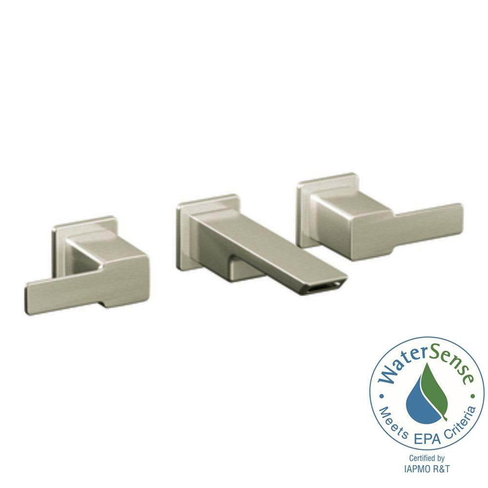 90 Degree 2-Handle Wall-Mount Bathroom Faucet in Brushed Nickel Finish