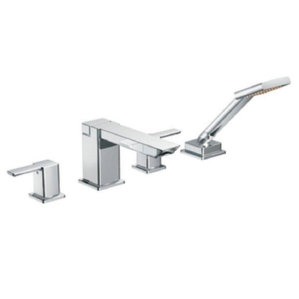 90 Degree 2-Handle High Arc Roman Bath Faucet with Hand Shower in Chrome
